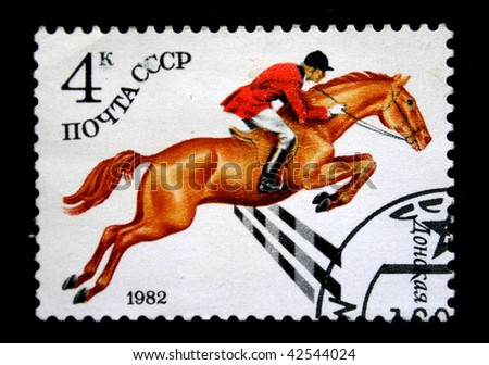 USSR - CIRCA 1982: A stamp printed in the USSR shows  Don horse, circa 1982 - stock photo