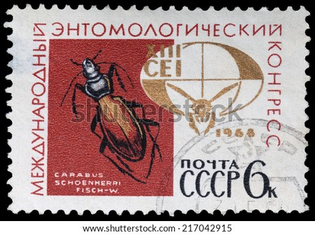 USSR - CIRCA 1968: A stamp printed in the USSR, shows International Entomological Congress, circa 1968