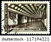 "USSR - CIRCA 1947: A stamp printed in the USSR shows  Metro station  "" Elektrozavodskaya"", Moscow  Subway scenes, circa 1947 - stock photo"