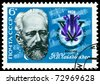 USSR-CIRCA 1974: A stamp printed in the USSR shows portrait  Peter Ilich Tchaikovsky - the great  russian composer.  5th International  Tchaikovsky  Competition,  Moscow, circa 1974 - stock photo