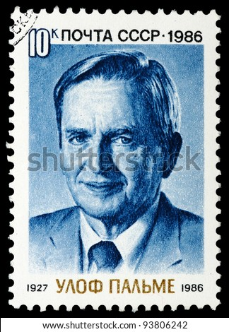 USSR - CIRCA 1986: A stamp printed in the USSR shows Sven Olof Joachim Palme, circa 1986