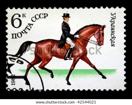 USSR - CIRCA 1982: A stamp printed in the USSR shows Ukrainian horse, circa 1982 - stock photo