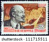 "USSR - CIRCA 1960: A stamp printed in USSR from the ""90th birth anniversary of Lenin"" issue shows portrait of Vladimir Ilyich Lenin and revolutionary scenes, circa 1960. - stock photo"