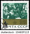 "USSR - CIRCA 1965: A stamp printed in USSR (Russia) shows a Neprinzew's paintings 'Rest after the battle' with the same inscription, from series ""20 Anniversary of victory over Germany"", circa 1965 - stock photo"