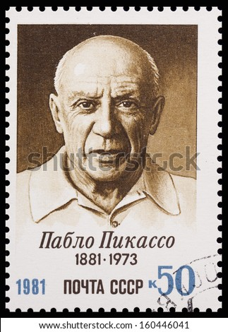 USSR - CIRCA 1981: A stamp printed in USSR shows a picture of Pablo Picasso (1881-1973), artist, birth centenary, circa 1981 - stock photo