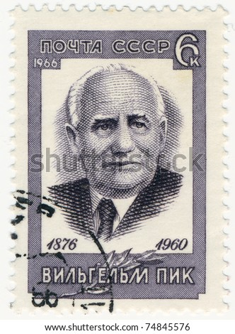 USSR - CIRCA 1966: A stamp printed in USSR shows a portrait of communist politician GDR - Friedrich Wilhelm Reinhold Pieck, circa 1966