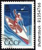 USSR - CIRCA 1969: A stamp printed in USSR shows an oarsman, devoted to European championship in canoe paddling, circa 1969 - stock photo