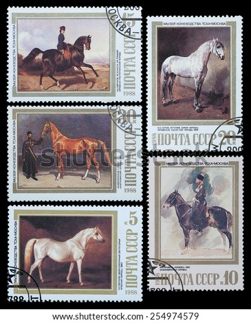 USSR - CIRCA 1988: A stamp printed in USSR, shows horses, series Moscow Museum of Horse Breeding, circa 1988 - stock photo