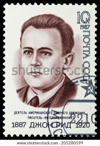 USSR - CIRCA 1987: A stamp printed in USSR shows John Reed , American journalist, circa 1987 - stock photo