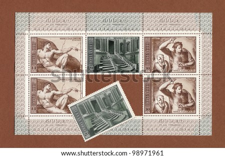 USSR - CIRCA 1975: A stamp printed in USSR shows part fresco in Vatican Sistine Chapel, Rome, Italy, Created is Michelangelo Buonarroti, series, circa 1975 - stock photo