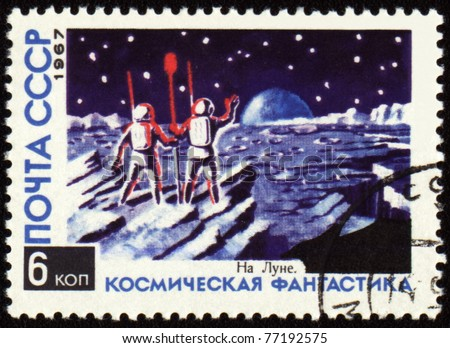 "USSR - CIRCA 1967: A stamp printed in USSR shows space fantasy picture ""On the Moon"", circa 1967"