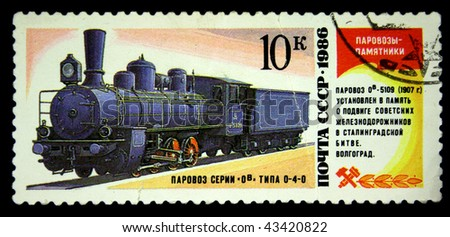 USSR - CIRCA 1986: A stamp printed in USSR shows steam locomotive of type 0-4-0 series Ov, stamp from series, circa 1986