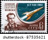 USSR - CIRCA 1961: A stamp printed in USSR shows the Major Titov and Vostok 2, series, circa 1961 - stock photo