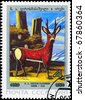 "USSR - CIRCA 1981: A Stamp printed in USSR shows the painting ""Deer"", by Niko Pirosmanashvili, 1913, from the series ""Paintings"", circa 1981 - stock photo"