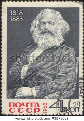 USSR - CIRCA 1968: A stamp printed in USSR, shows the portrait of a Karl Marks (1818-1883), circa 1968 - stock photo