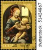 "USSR - CIRCA 1971: A Stamp shows the painting of Leonardo da Vinci ""Madonna and Child with Flowers"", otherwise known as the ""Benois Madonna"", circa 1971 - stock photo"