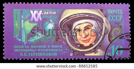 USSR - CIRCA 1983: An airmail stamp printed in USSR shows a spaceman: V.Tereshkova, series, circa 1983. - stock photo