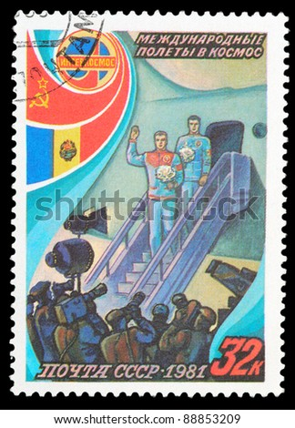 USSR - CIRCA 1981: An airmail stamp printed in USSR shows a spacemans, series, circa 1981. - stock photo