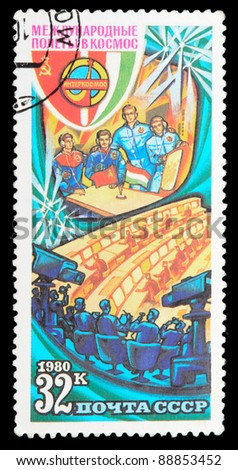 USSR - CIRCA 1980: An airmail stamp printed in USSR shows a spacemans, series, circa 1980. - stock photo