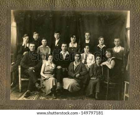 USSR - CIRCA May 16, 1934: Antique photo shows group of young people, May 16, 1934 - stock photo