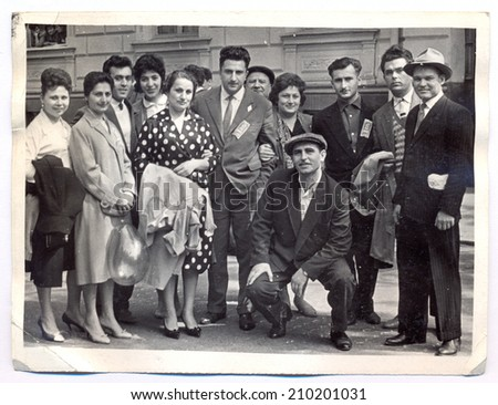 USSR - CIRCA MAY 1, 1956: Vintage photo shows International Workers' Day, group photo, MAY 1, 1956 - stock photo