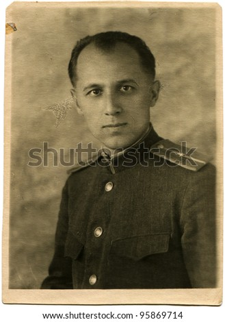 USSR - CIRCA 1945: Portrait of the Soviet army lieutenant, circa the summer 1945