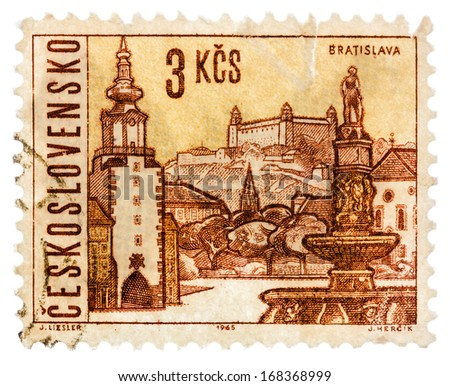 USSR - CIRCA 1965: Postage stamp printed in the USSR shows  illustration Czechoslovak city - Bratislava, circa 1965 - stock photo