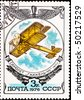 "USSR - CIRCA 1976: postage stamp shows vintage rare plane ""Gakkel"", circa 1976 - stock photo"