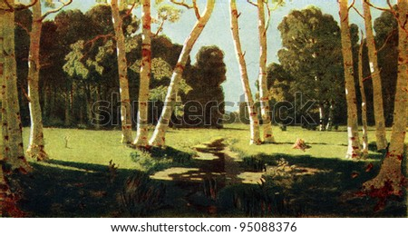 USSR - CIRCA 1959: Postcard printed in thr USSR shows paint by Arkhip Kuindzhi - Birch Grove, 1879, State Tretyakov Gallery, circa 1959
