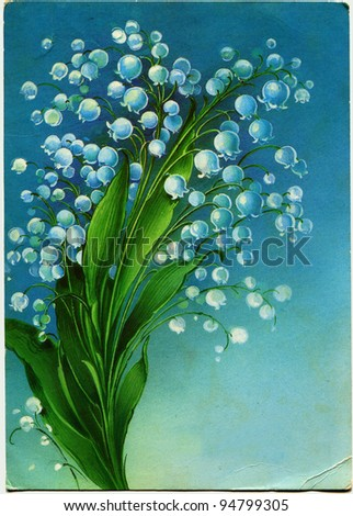 USSR  - CIRCA 1986: Postcard shows draw by artist Korobova - Lilies of the Valley, circa 1986