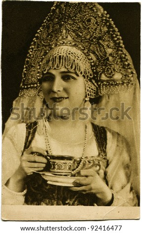USSR - CIRCA 1927: Reproduction of antique postcard shows Mary Pickford, circa 1927