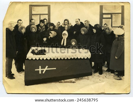Ussr - CIRCA 1970s: An antique Black & White photo show funeral - stock photo