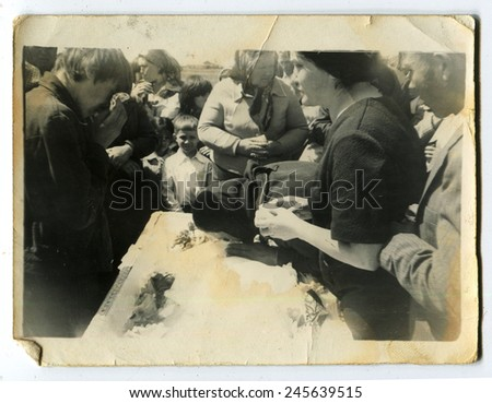 Ussr - CIRCA 1950s: An antique Black & White photo show funeral - stock photo