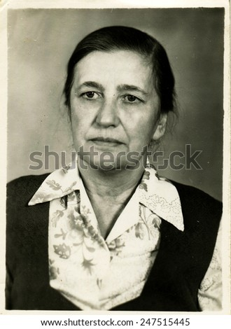 USSR - CIRCA 1960s: An antique photo shows portrait middle-aged women