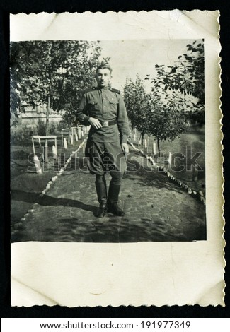 USSR - CIRCA 1950s: An antique photo shows solders portrait