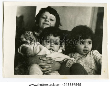 USSR - CIRCA 1980s: Vintage photo shows three sisters - stock photo