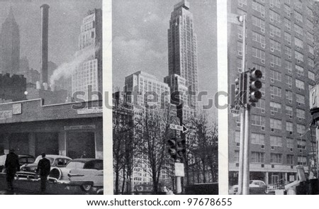 "USSR - CIRCA 1957: Soviet magazine ""Ogoniok"" shows photos of New York made by U. Gukov, publishing house ""Pravda"", issue 3, circa 1957 in Moscow, USSR - stock photo"