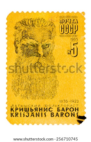 USSR - CIRCA 1985: Stamp printed in the Soviet Union, shows portrait of Krishianis Baron (1835-1923), Latvian Folklorist, circa 1985 - stock photo