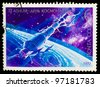 USSR - CIRCA 1978: stamp printed in USSR, day of space exploration, space station union, spacecraft, around 1978 - stock photo