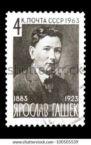 "USSR - CIRCA 1963: stamp printed in USSR (Russia) shows portrait of Jaroslav Hasek - Czech writer with inscription ""Jaroslav Hasek, 1883 - 1923"", series ""80th Birth Anniversary of Hashek"", circa 1963 - stock photo"