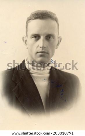USSR - CIRCA 1962: vintage photo of a beautiful man, circa 1962 - stock photo