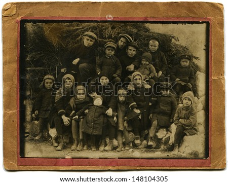 USSR - CIRCA 1930: Vintage photo shows schoolboys, 1930 - stock photo