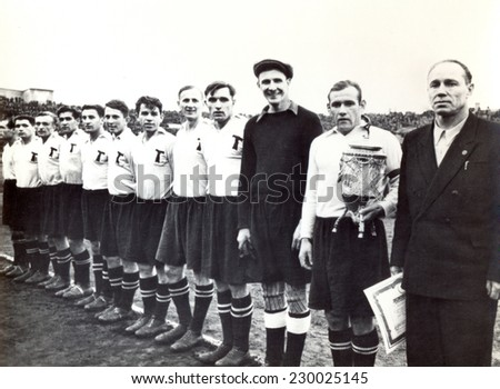 USSR - CIRCA 1948: Vintage photo shows soccer team, 1948