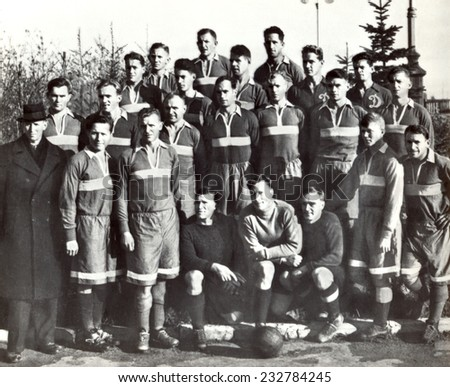 USSR - CIRCA 1945: Vintage photo shows soccer team, 1945