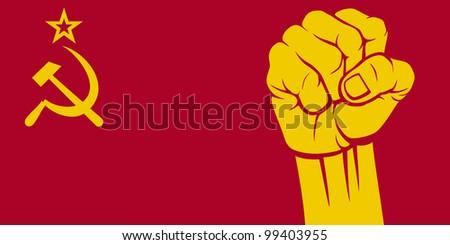 ussr fist (flag of ussr) - stock photo