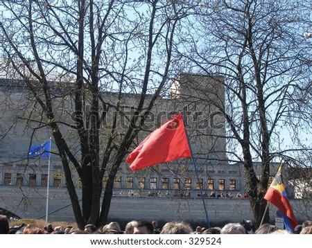 Ussr flag and EU flag - stock photo