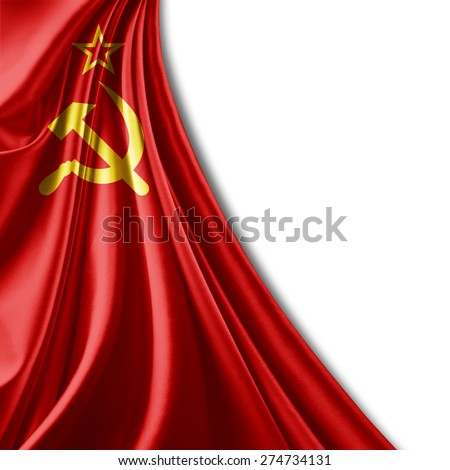 Ussr flag of fabric and white background - stock photo