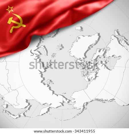 Soviet flag stock images royalty free images vectors shutterstock ussr flag of silk with copyspace for your text or images and world map background gumiabroncs Choice Image