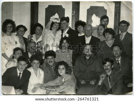 USSR, Petrapavlovsk - CIRCA 1980s: An antique photo shows wedding day - stock photo