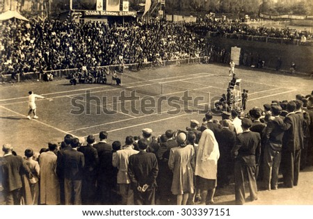 USSR, Russia - CIRCA 1937: An antique Black & White photo of a meeting match of tennis  - stock photo